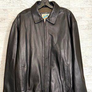 TravelSmith Leather Bomber Jacket Black Large